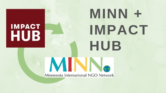 "Impact Hub and MINN logos with a green circular arrow connecting them and dark grey text, ""MINN + Impact Hub"" on a soft green watercolor background."